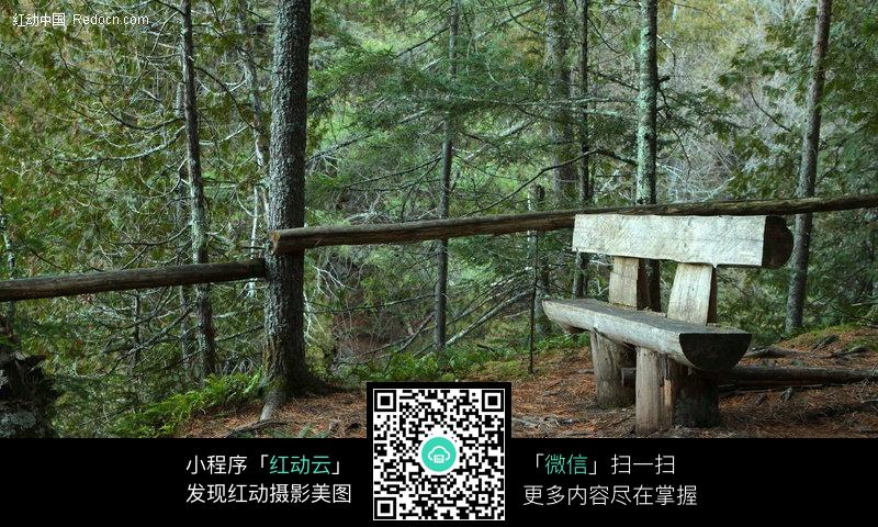 免费素材 图片素材 自然风光 自然风景 一把木桩制作的双人靠椅