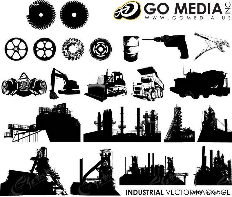 工厂建筑物剪影