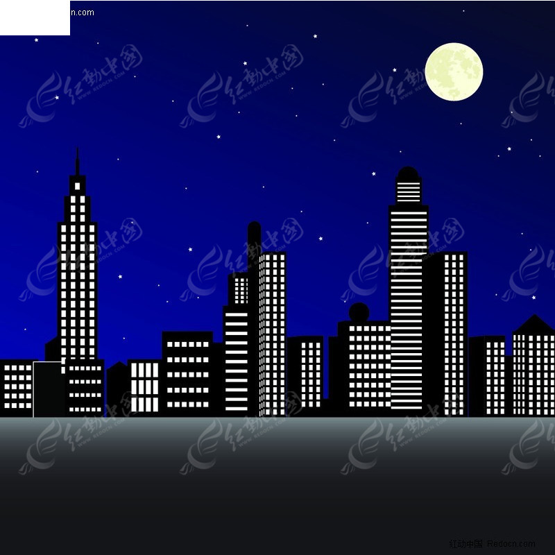 夜晚城市剪影矢量素材图片
