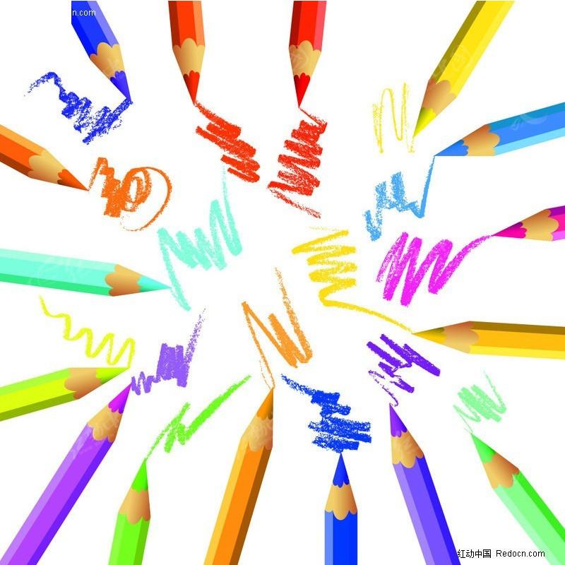 多种彩色画笔围成的圆形