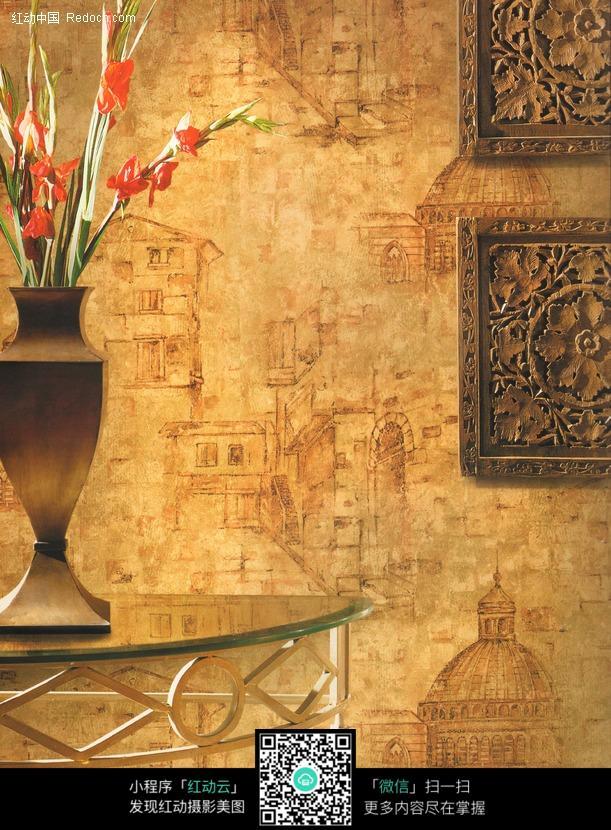 欧式风格花纹的家居墙纸图片