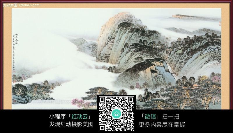 山水  国画 画框 花鸟