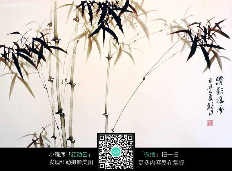 竹子水墨画 清影摇风图片
