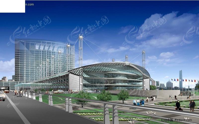免费素材 psd素材 psd建筑空间 园林景观 国际会展中心效果图设计  请图片