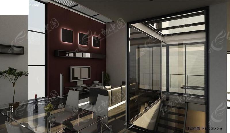时尚现代室内场景设计模型图片
