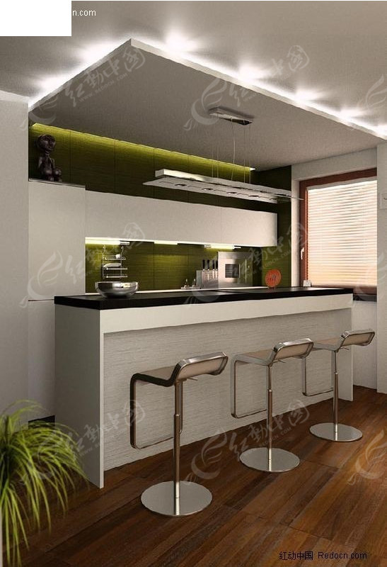 现代厨房场景设计效果图
