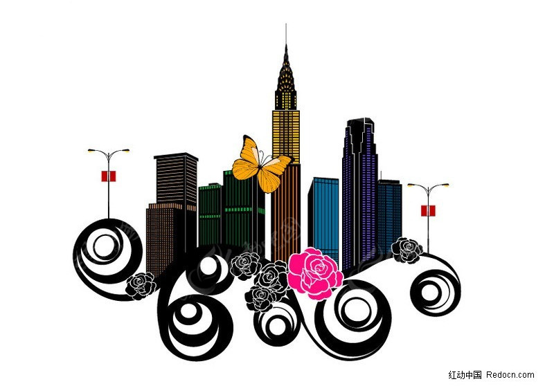 城市建筑物剪影