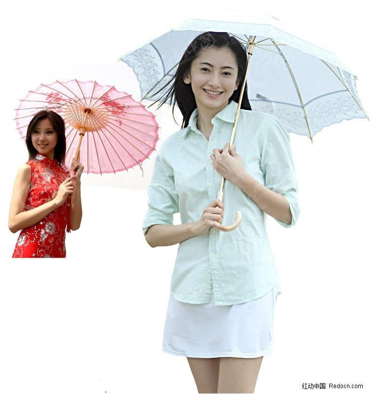 打伞美女素材图片