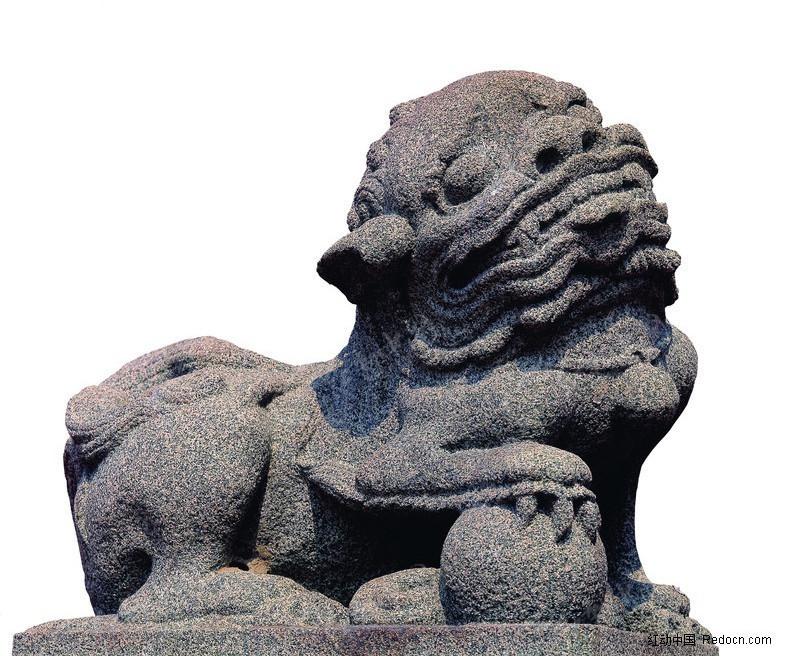 中国古老的石狮雕像