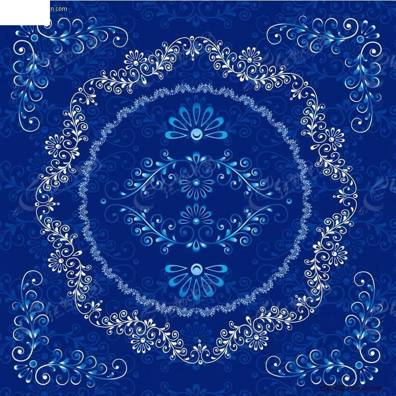 欧式蓝色花纹边框