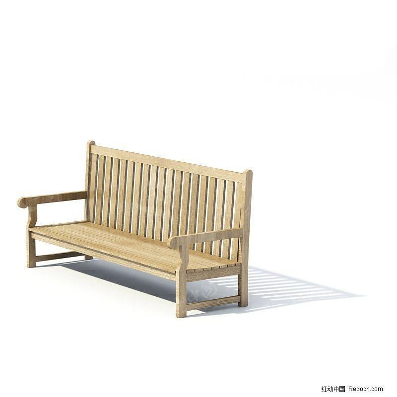 3d精致木长椅模型