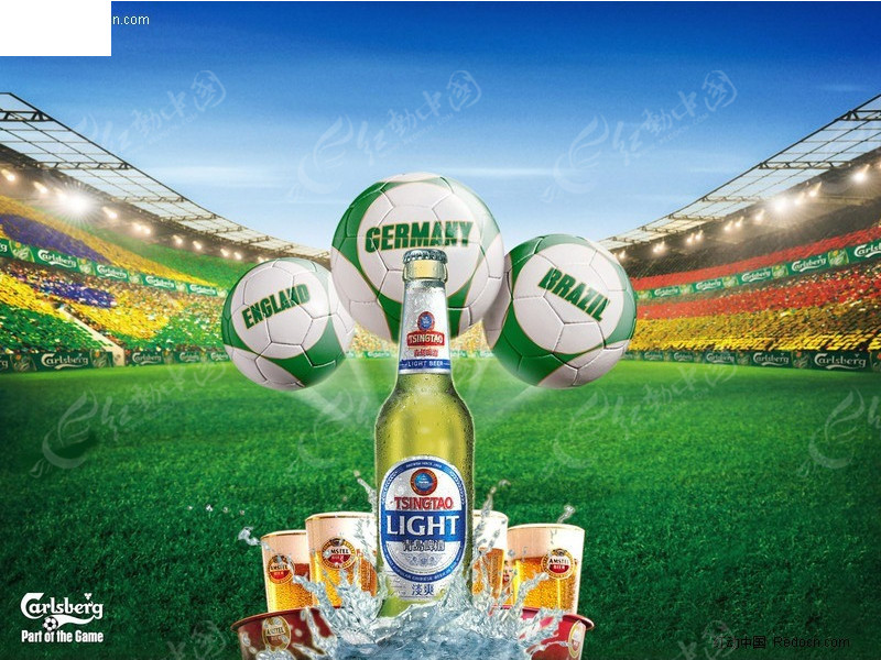 青岛啤酒足球世界杯海报psd免费下载