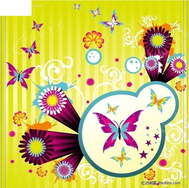 免费素材 矢量素材 花纹边框 印花图案 > 放射花与彩蝴蝶插画  免费
