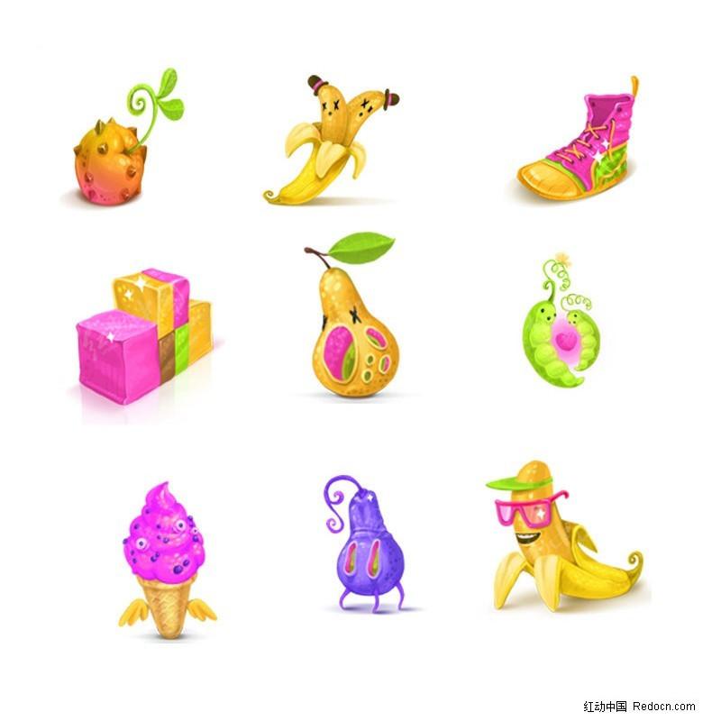 手绘卡通单个水果