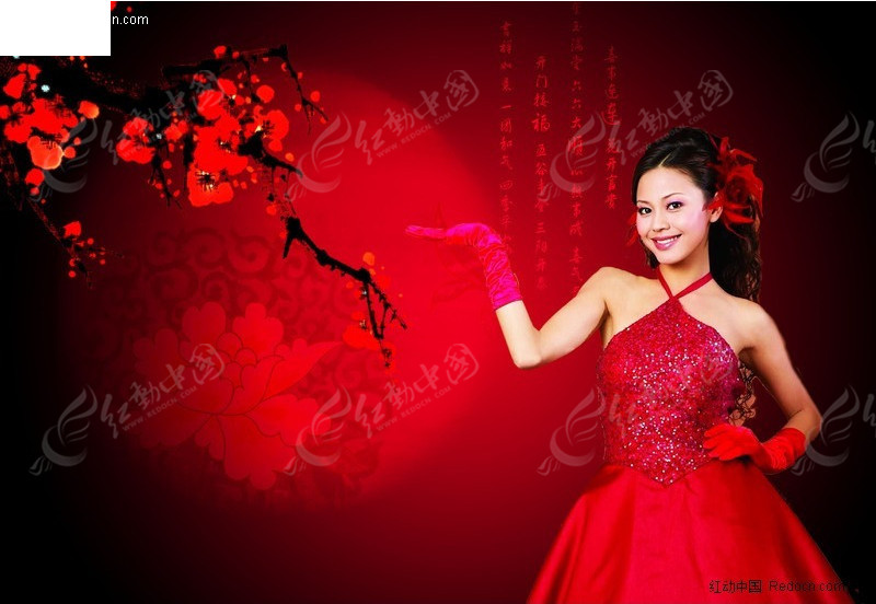 古典中国梅花美女海报