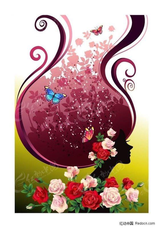 美女的鲜花头发图片