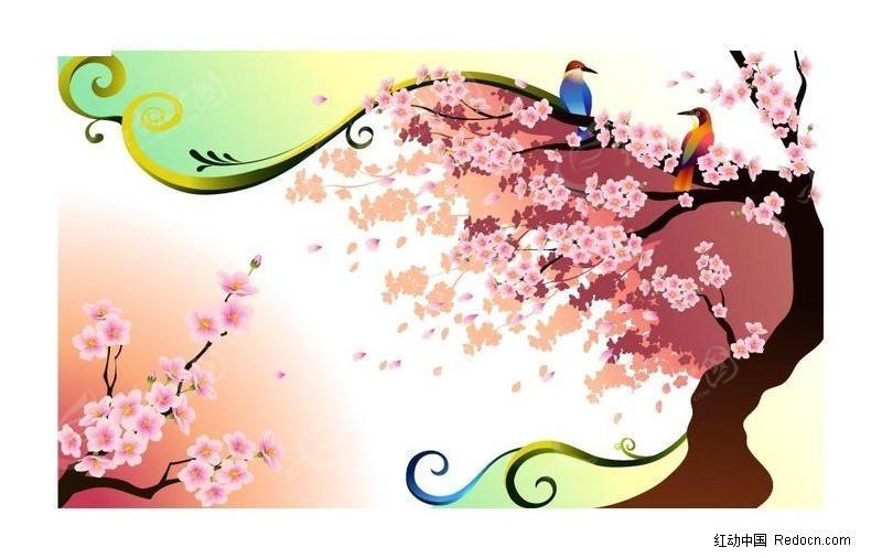 梅花树上的小鸟矢量图