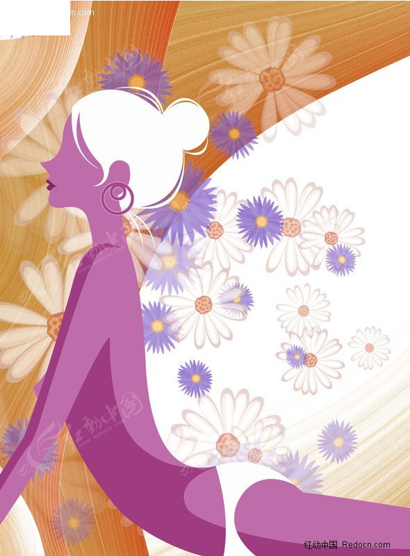 优雅花朵背景 泳装美女 插画 手绘 插画人物 漫画人物 psd分层素材