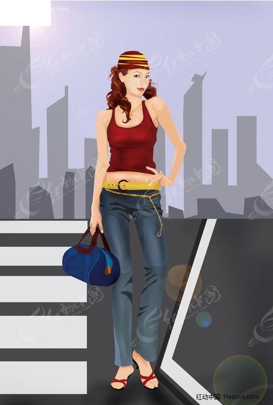 人行道 上的时尚美女 编号 238454 卡通 人物 高清图片