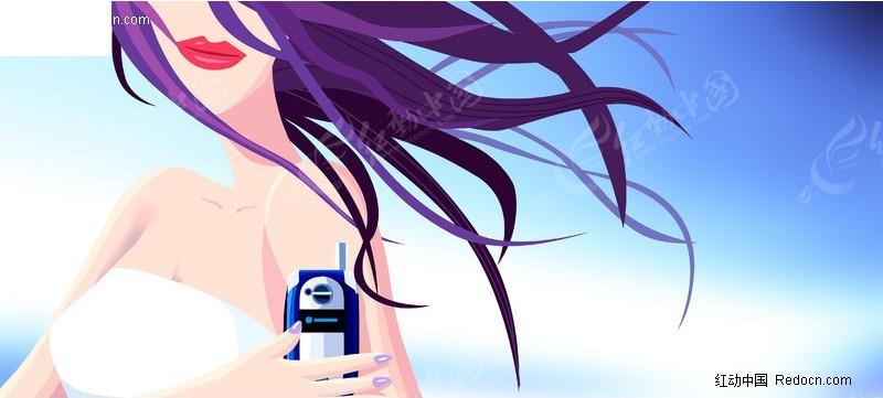 时尚手机美女_卡通人物