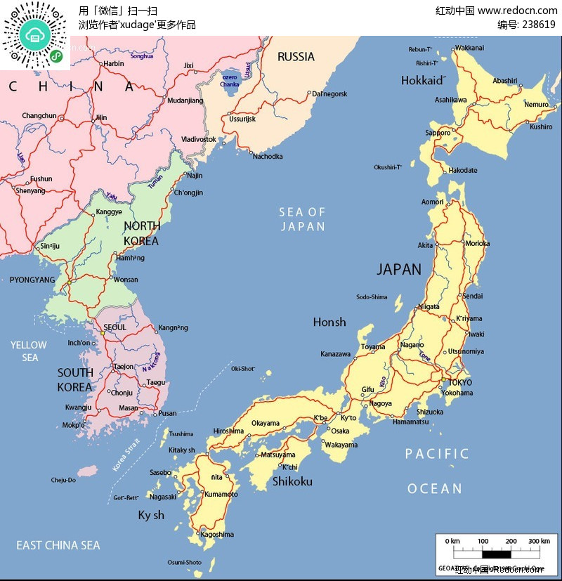 日本韩国简单地图矢量图eps免费下载_其他素材