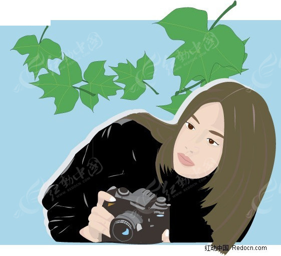 手拿相机的美女卡通手绘_女性女人_红动手机版