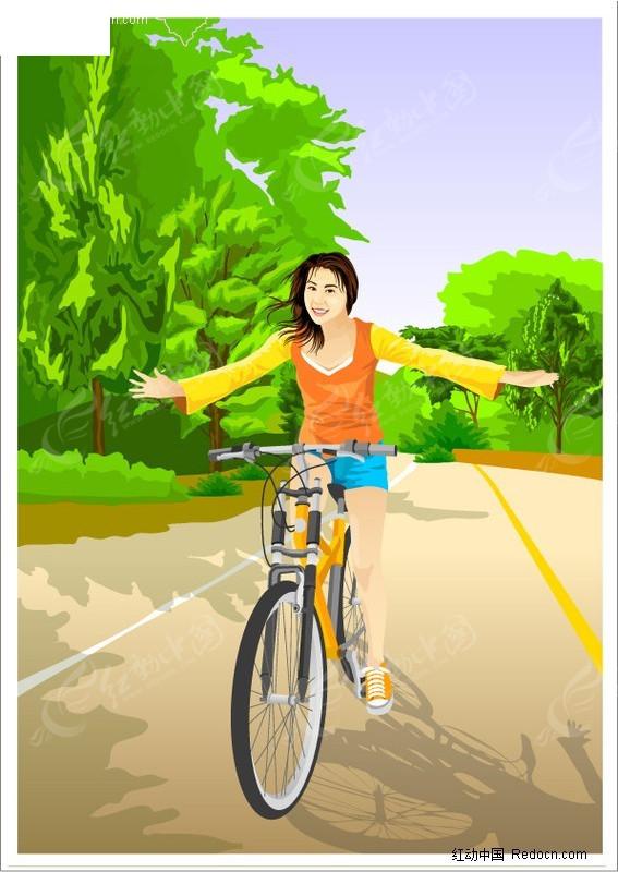 插画 骑单车的女孩矢量图