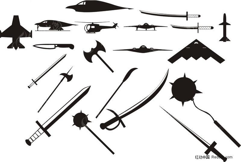 黑白飞机 东洋刀 兵器 武器 斧头 剑 火箭 潜艇