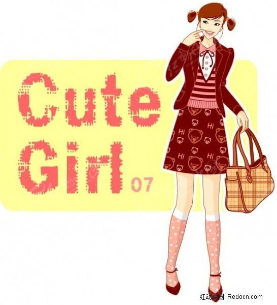 美女 时尚/拿着包包的时尚美女