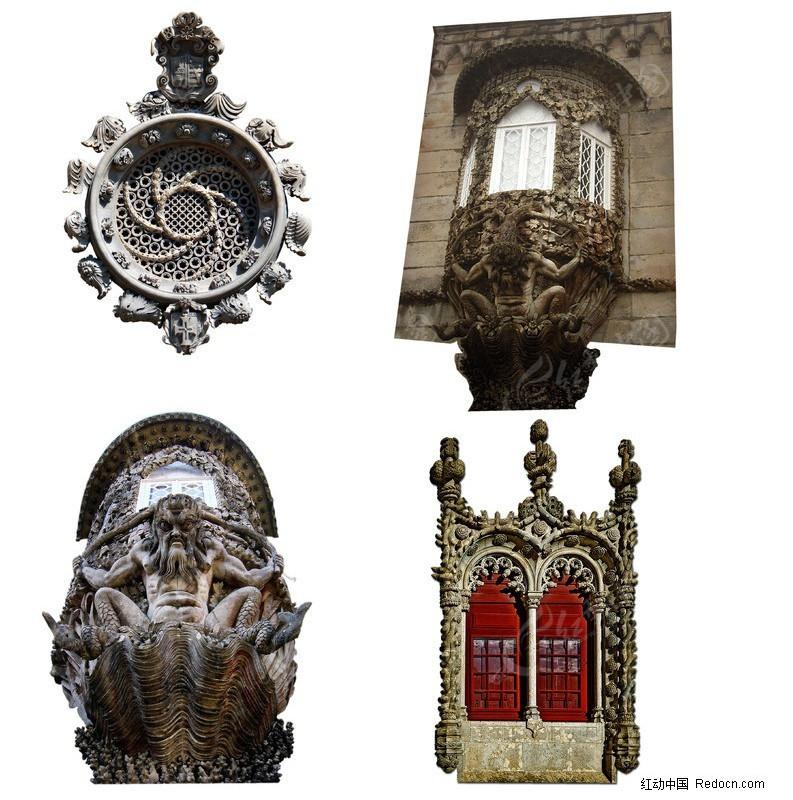 古代建筑元素psd分层素材