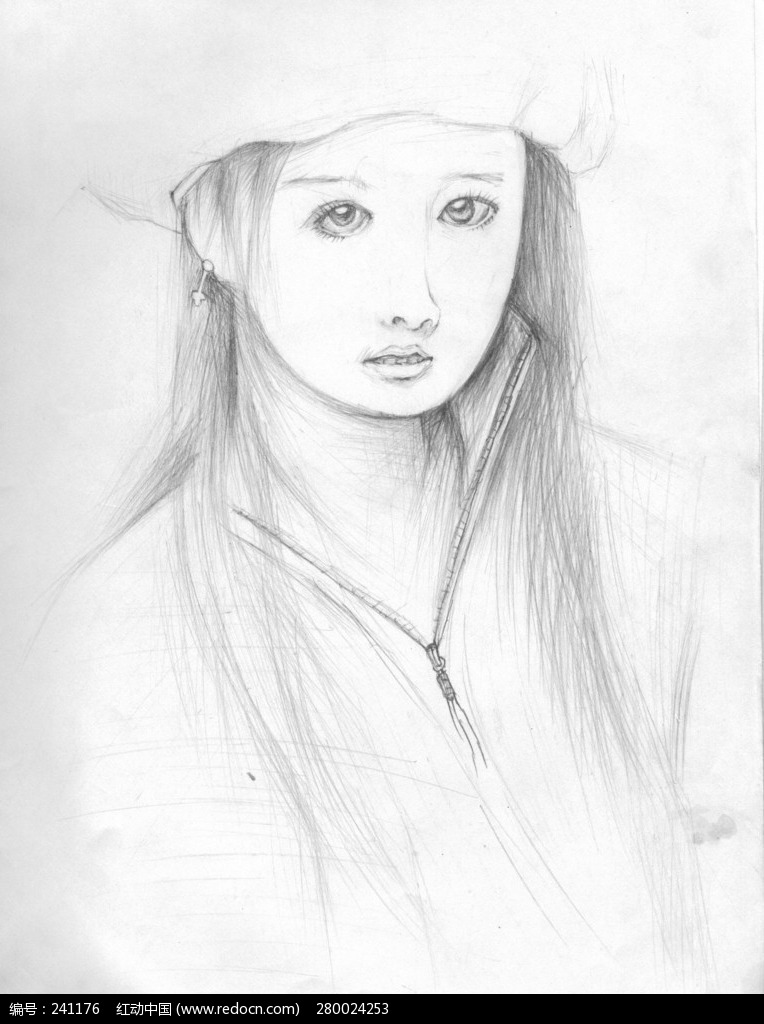素描美女图片图片
