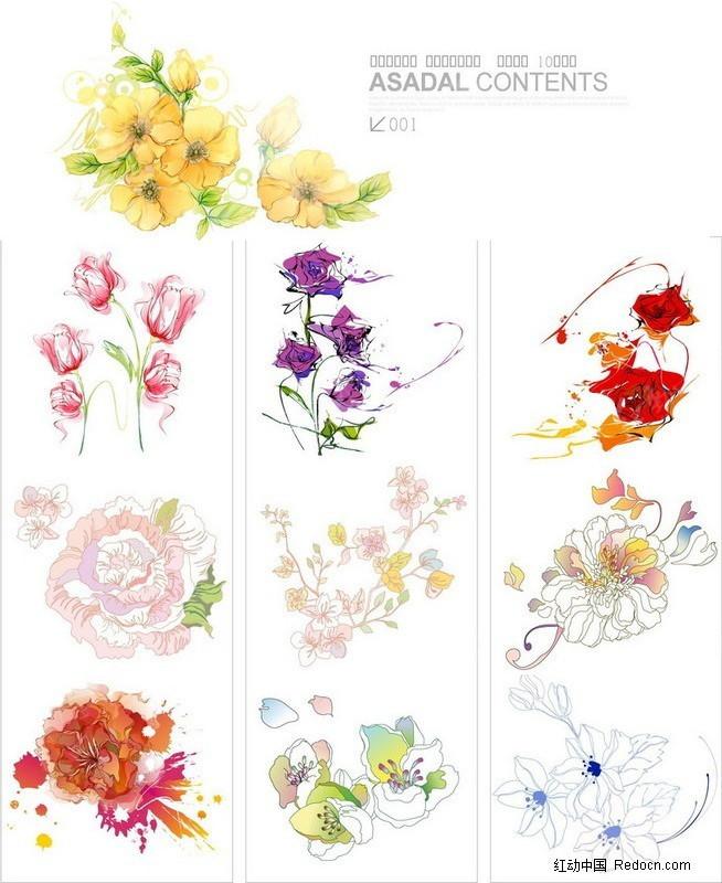 简笔画的各种花卉-花草树木矢量图下载(编号:242599)