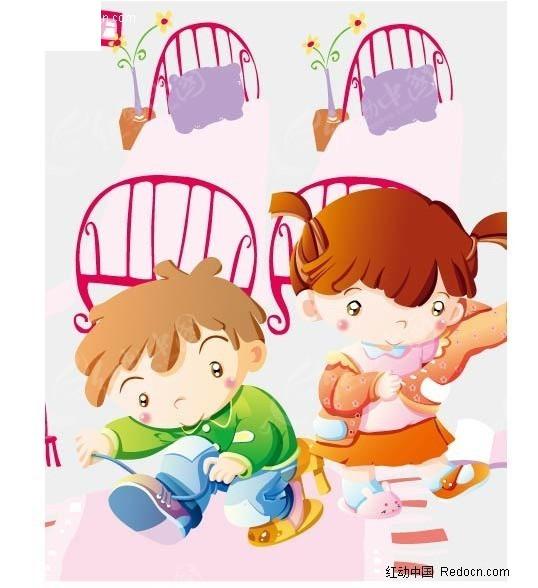 小男孩与小女孩自己穿衣服 儿童宝宝矢量图下