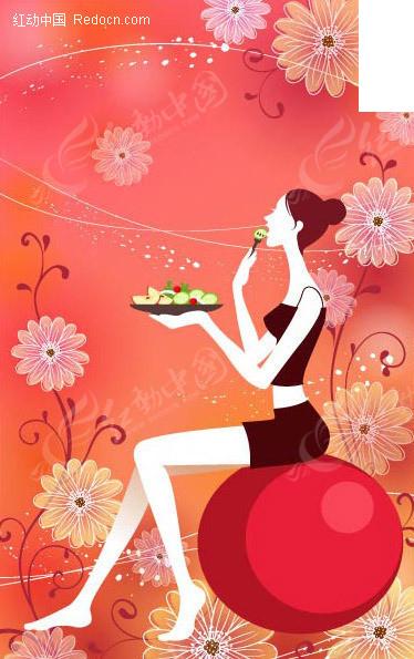 坐在气球上吃水果餐;;;