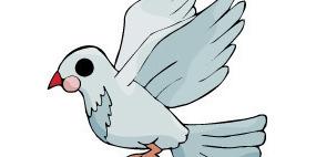 卡通插画-飞翔的鸽子