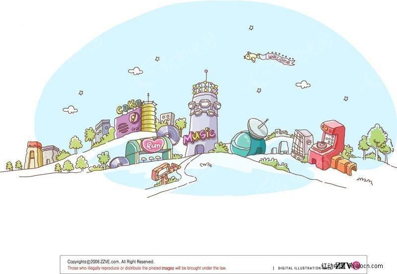 免费素材 矢量素材 空间环境 城市风光 矢量可爱城市风情漫画  请您