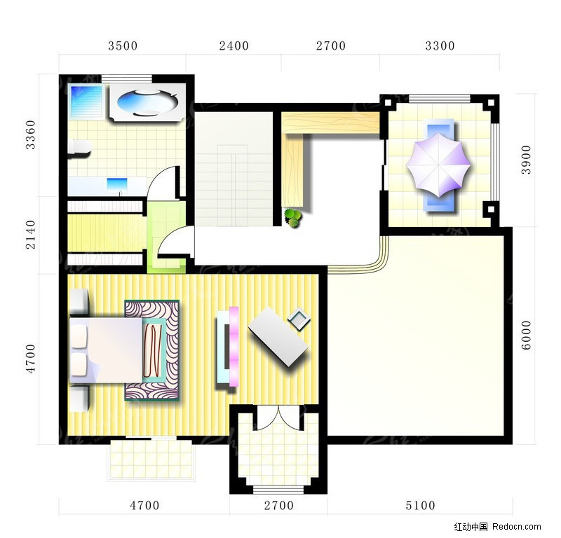 室内设计平面图矢量图