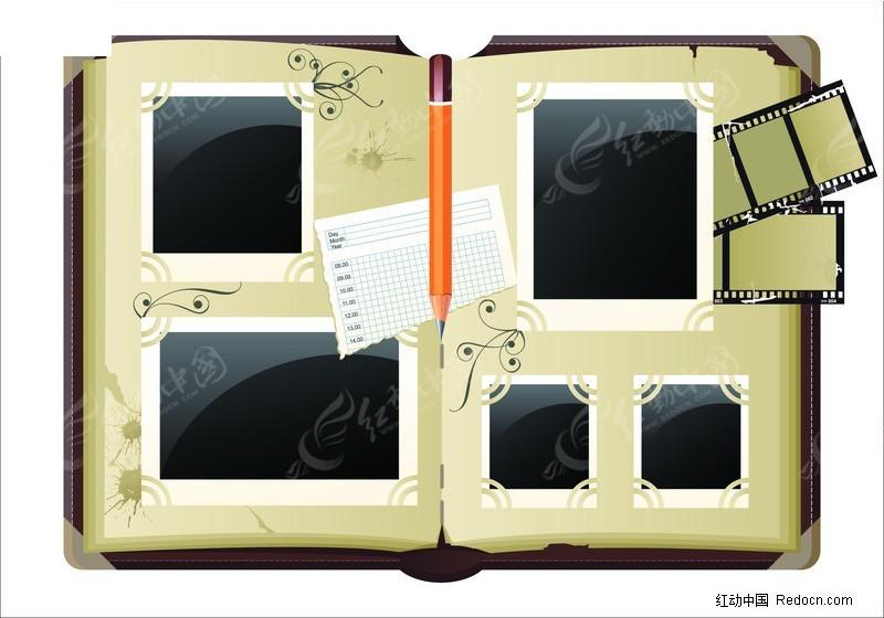 照片相册矢量素材; 空白相框; 空白相框相册花纹铅笔底片生活用品生活
