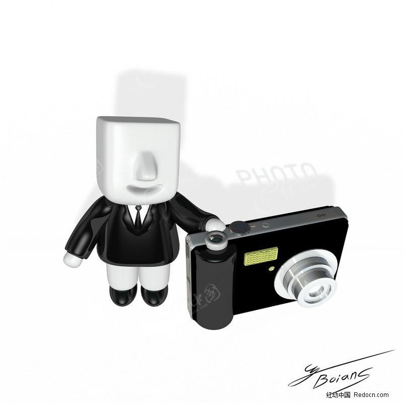 3d小人和数码照相机_卡通人物