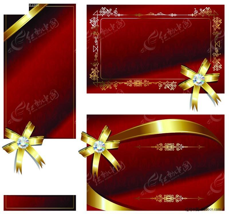 红色背景上欧式金色花纹