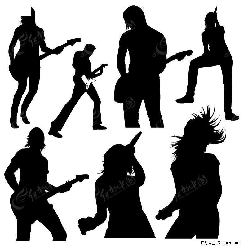 弹吉他及歌唱的人物剪影