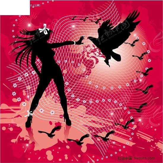 动感背景上的美女与鹰剪影矢量图编号:24495
