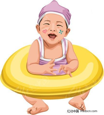游泳圈 小男孩 插画 手绘 人物素材 少年儿童图片 插画人物 矢量素材