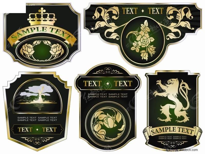 免费素材 矢量素材 标志|图标 徽标|徽章|标贴 古典华丽欧式标贴  请