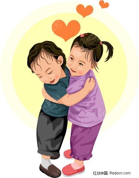 插画-拥抱的孩子