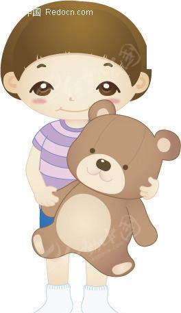 插画-抱玩具熊的小孩矢量图