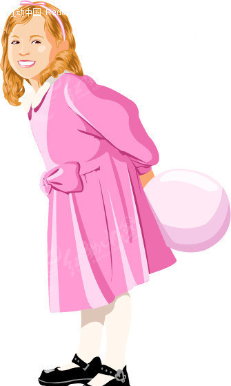 穿连衣裙的小女孩 插画 手绘 人物素材 少年儿童图片 插画人物 矢量素