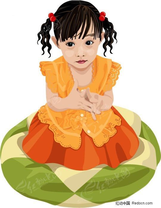 游泳圈 小女孩 插画 手绘 人物素材 少年儿童图片 插画人物 矢量素材