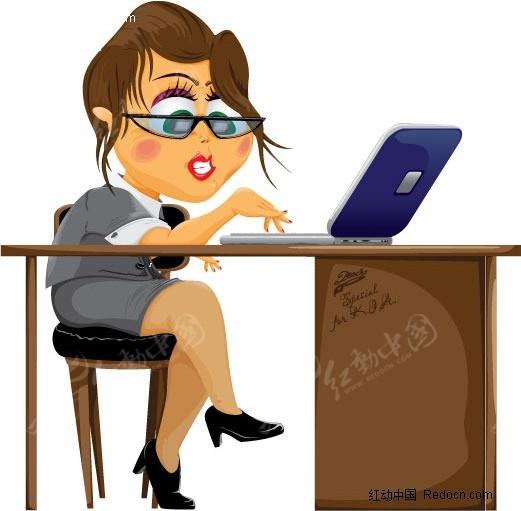 商务矢量工作女性
