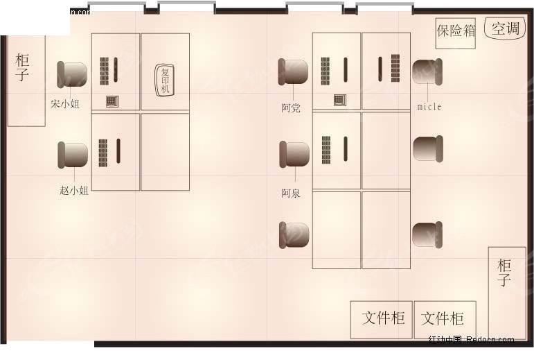 办公室平面图矢量图_室内设计